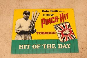 BABE RUTH PITCH HIT TOBACCO METAL SIGN - REPRODUCTION - 1989
