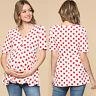 Women Pregnancy Maternity Summer Baby Polka Dot Short Sleeve T Shirt Tops Blouse