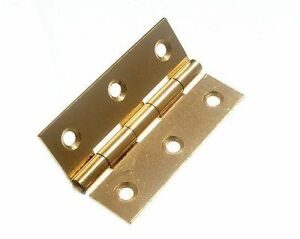 NEW 6 X 75MM 3 INCH BRASS PLATED BUTT HINGES WITH SCREWS