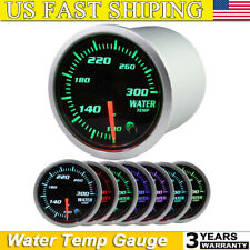 """2"""" Coolant Water Temp Gauge Thermo 100-300 Fahrenheit Meter 1/8 NPT 7 LED Color"""