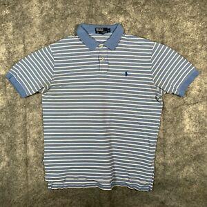 Ralph Lauren Polo Shirt Mens Large Blue Stripe Short Sleeve Black Pony Stripe O1