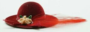 Miniature Dollhouse Ladies Hat Burgundy With Feather 1:12 Scale New