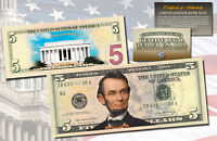 LINCOLN MEMORIAL DAY VERSION Genuine Legal Tender COLORIZED 2-Sided $5 US Bill