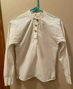 Civil War cowboy action SASS boys shirt size 12 US made band collar white cotton