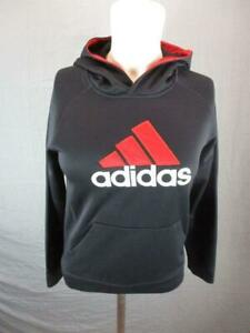Adidas Size M(10-12) Boys Black Athletic Long Sleeve Active Pullover Hoodie T816