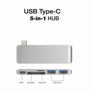 """5in1 USB C Hub 3.0 Type-C Adapter Data Sync Card Reader For MacBook 12""""-A1534"""