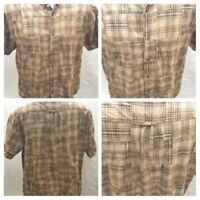 Clearwater Outfitters Men's XL Plaid Brown Color Shirt Patch Work  Short Sleeve