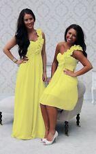 1 Shoulder Chiffon Bridesmaid Wedding Dress Ballgown Long Short A Line Maxi UK