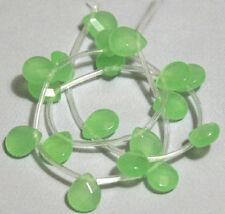 18 Light Geen Faceted Flat Briolette Glass Beads 9X11mm