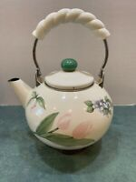 Estate Find! Enameled Teapot/Kettle Cream with Pink Tulips Blue Violets
