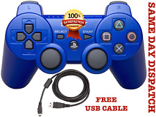 SONY SIXAXIS PLAYSTATION 3 WIRELESS BLUETOOTH PS3 CONTROLLER RED + Cable Blue