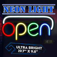 "20""x10"" Led Flexible Neon Open Sign Light Billboard Shop Decor W/ Hanging Chain"