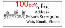 100 Personalised return address label custom sticky mailing sticker 56x25mm owl
