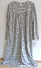 NWT ARIA LONG FLEECE NIGHTGOWN-SIZE 1X-LONGSLEEVE-GRAY-$60-BEAUTIFUL AND WARM!