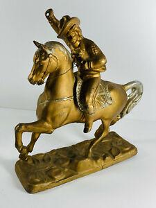 Antique Western Cowboy Buffalo Bill Clock Topper Sculpture Statue Cast Metal SEE