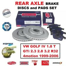 FOR VW GOLF IV 1.8 T GTi 2.3 2.8 3.2 R32 4motion 1999-06 REAR BRAKE PADS + DISCS