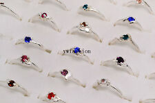 Wholesale lots Jewelry 10Pcs Mixed CZ Rhinestone Silver P Wedding Rings FREE