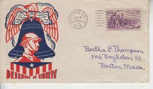 WW2 PATRIOTIC CACHET DEFENDERS OF LIBERTY BEDFORD OH JAN 11 1944 KNAPP/STAEHLE??