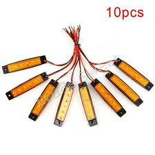 10pcs 12V 6LED Amber Front Side Marker Indicator Light Orange Truck Trailer Lamp
