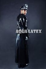 "Man Military ""Epaulette"" Style Long Coat Rubber Latex Long Jacket"