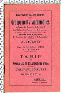 Livret de Tarifs des Assurances Respons. Civile. Chevaux, Voitures. Paris 1931