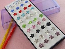 Wholesale 40pcs Silver Flower Pierced CZ Stud Earrings