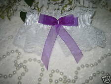 Garter SATIN & LACE  Garters Wedding Bridal PURPLE