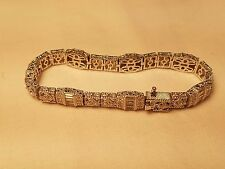 "Judith Ripka Sterling 6-3/4"" Clad Estate Diamonique Tennis Bracelet 3.25 carats"