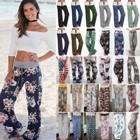 Womens Plus Size Loose Floral Yoga Palazzo Trousers Ladies Casual Wide Leg Pants