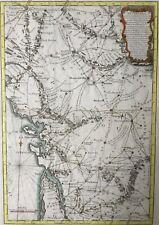 France 1767 Stagecoach Paris Bordeaux Nantes Rennes Michel / Desnos, antique map