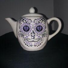 Archie McPhee Porcelain Halloween Dia de los Muertos Cat Sugar Skull Teapot