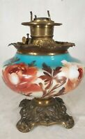 ANTIQUE VICTORIAN GWTW MILK GLASS OIL LAMP WITH HAND PAINTED RED AND WHITE ROSES