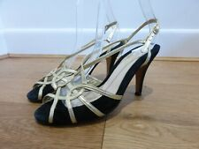 Lulu Guinness black gold leather suede strappy cut out retro shoes 38 5 heels
