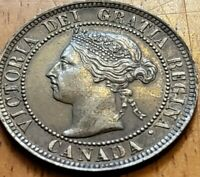 Canada 1896 One Cent AU Die Clash Crack OBV Check It Out!!  KM# 7  #AA238-5