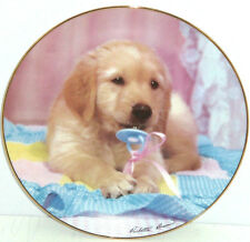 Golden Retriever Collector Plate  Puppy Portraits Teething Time Hamilton Dog