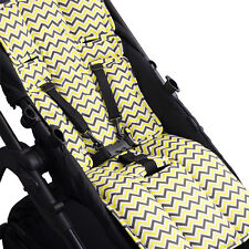 PRAM LINER OUTLOOKBABY  Yellow Charcoal Chevron COTTON UNIVERSAL gauranteed