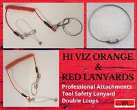 Scaffolders Tool Lanyard HI VIZ Tethered Lanyard Tool Safety 2 Loops Attachment
