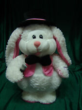 """DAN DEE ANIMATED PLUSH BUNNY RABBIT SINGS DANCES TO """"THE HOP"""" WHITE & PINK WORKS"""