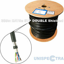 305m CAT5e STP DOUBLE SHIELDED OUTDOOR Network LAN Cable BLACK - SOLID COPPER