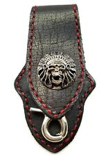 Biker Skull Trucker Red Stitch  Black Leather Belt Clip Keychain Key Holder