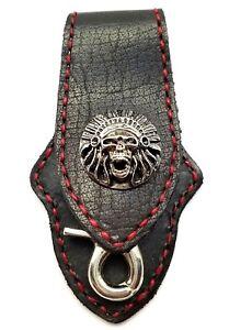 Biker Skull Trucker Red Stitch  Black Leather Belt Clip Keychain Key Holder