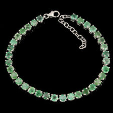 Sterling Silver Bracelet Green Emerald Genuine Natural Gems 7 to 8 1/4 Inch