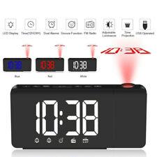 Digital Led Time Projection Projector Dual Alarm Clocks Snooze Fm Radio Bedroom