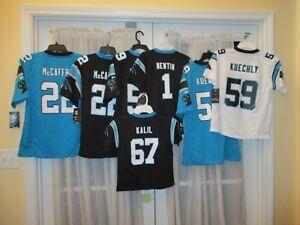 Brand New Carolina Panther Jerseys McCaffrey #22 Kuechly #59 Newton #1 Kalil #67