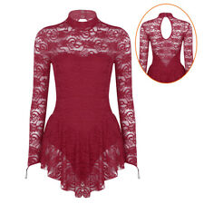 Adult Women Ice Skating Dress Competition Baton Twirling Costume Lace Dancewear