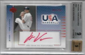 Justin Verlander 2003 UD USA Baseball #5 RARE /750 RED AUTOGRAPH BGS 9/9 MINT RC