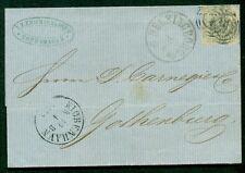 DENMARK 1862 8sk gray (Facit 6a) attractive folded letter to Sweden Nielsen cert