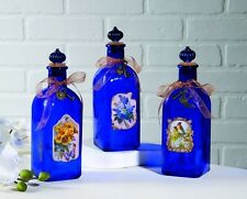 Set of 3 Cobalt Blue Glass Decorative Vintage Antique Style Apothecary Bottles