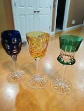 Faberge Imperial Czar Cut to Clear Cordial Glasses set of 3