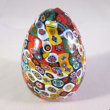 Vintage Italian Venetian Art Glass Murano Millefiori Paperweight Egg Shaped